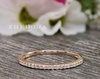 Half Eternity Wedding Band Rose Gold Plated 0.15 CT Round Cut Simulated Diamonds .925 Sterling Silver Rhodium Plated Bridal Band