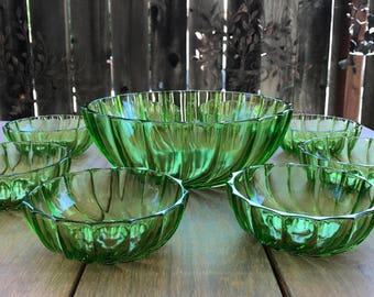 Vintage Salad Bowl Set - Rhythm Green by Federal Glass