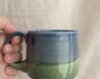 Blue and Green Landscape Glazed Soup Mug