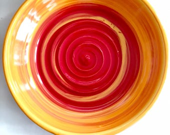 Bright Red, Yellow and Orange Ceramic Plate