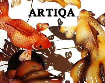 art,interior,object,sculpture,deco,rare,fish,handmade,craft,original,goldfish,koi fish,swarovski,tabletop,desktop,display,autumn,leaves