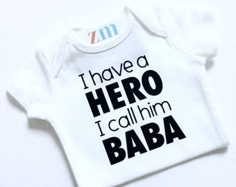 Baba, Mommy, Papa, Abbu, Daddy, Father, Dad bodysuit, cute outfit, T-shirt personalized custom shirt gift baby shower birthday, Father's Day