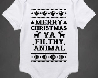 Merry Christmas Ya Filthy Animal Onesie, Silly Christmas Onesie, Home Alone  Quote Onesie,