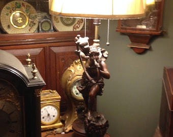 Antique French Neoclassical Bronzed Patinated Spelter Lamp with Wooden Base Circa 1910 - 1930