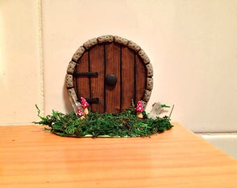 Brown Fairy Door, Hobbit Door, Handmade Fairy Door,Boho Decor, Fairy Garden Accessories, Fairy Garden, Fairy Tree,Hobbit Hole,Hobbit House
