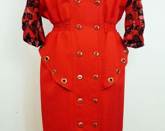 Vintage 1980's red and black dress
