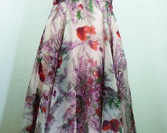 1950's floral printed chiffon cocktail dress