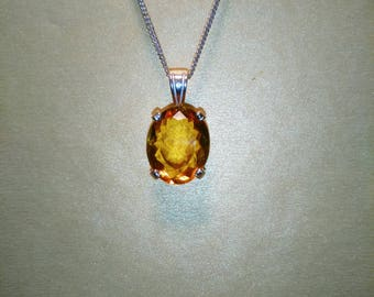 Citrine Pendant, Natural  Faceted Citrine Gemstone Necklace, Citrine 18x14mm Oval Pendant