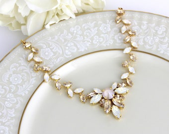 Gold Bridal necklace, Crystal Wedding necklace, Bridal jewelry, White opal, Champagne crystal, Statement necklace, Swarovski necklace