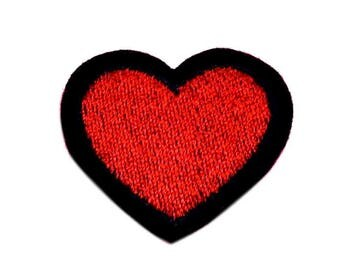 Red Heart Iron on Patch, Black Border Iron on Patch, Heart Patch, Heart Applique - H370