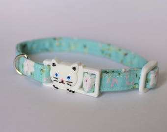 Floral cat collar breakaway 'Mint Daisy' kitten collar, cotton cat collar, breakaway cat collar, safety cat collar, spring cat collar