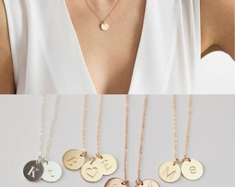 Two Initial Necklace, Double Initial Necklace, 2 Initial Necklace, Multiple Initial Necklace,3 2 Charm Necklace,3 Initial Necklace,Gold Disc