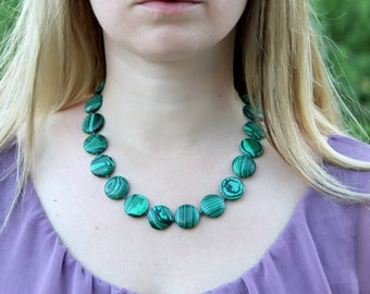 Gifts|for|grandma Jewelry malachite Jewelry malachite Necklace Vintage gemstone Jewelry gemstone necklace Retro necklace Healing Gemstone