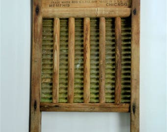 Rare National Washboard Co. No. 801 Memphis Chicago  Antique Wood and Brass Washboard - 1940's