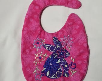 Cute Floral machine embroidered  Easter Bunny