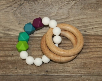 Silicone and Wood Teething Toy | Rings | Modern | Perfect Gift | Handmade in Canada | Unique | Teething | Baby | Kenton Creations