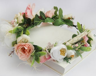 Summer Flower Crown / Flower Head Wreath Bridal Flower Halo Romantic Wedding Headpiece Floral Crown READY