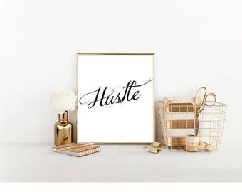 Hustle, Digital Print, Cubicle Decor, Cubicle Wall Decor, Cubicle Accessory, Office Decor, Entrepreneur Print