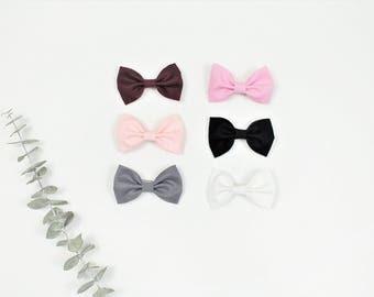 Bows, Baby Girl Bows, Toddler Bows, Bow Headband, Bow Hair Clip, White, Pink, Gray, Black, Burgundy,
