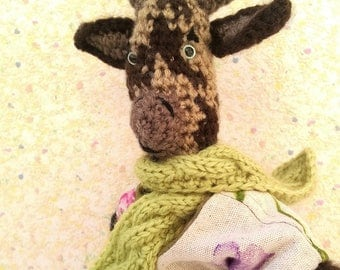 "Amigurumi goat, ""Blueberry"" biquette tricolor, dressed in the spring a shabby"