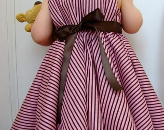 Baby Pink and chocolate brown striped cotton dress