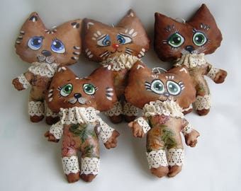 Set of 5 coffee toys Aroma cats Textile kittens with coffee aroma Gift for mothers Day Handmade textile toys with coffee and vanilla flavour