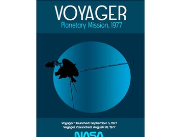 NASA Voyager Planetary Mission Poster 1977 - Voyager Spacecraft - Space Posters