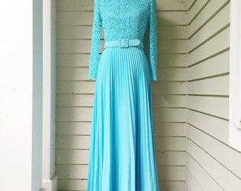 Vintage 1960s Blue Maxi Dress, Women's Size 6, 1960s Bridesmaids Dress, 1960s Belted Floor-Length Dress, 1960s Prom Dress