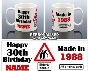 30. Geburtstag Becher Personalisierte Geburtstag Tasse Made In 1988 30  Geburtstag Tasse Geschenk Für Ihn