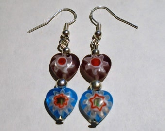 Colorful Double Heart Earrings