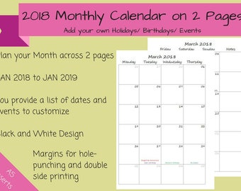 CUSTOMIZED 2018 - Dated Monthly Calendar on 2 Pages Printable Planner, Half Sheet, A5, kikki.K, Filofax inserts