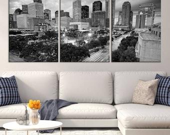 Large Black and White Houston City Wall Art Canvas Print - Houston Skyline Wall Art, Houston Texas Skyline Canvas Print, Housewarming Gift