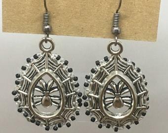 Bead Embellished Spider Web Earrings