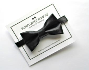 Boys Bow Tie - Faux Leather Bow Tie - Bow Ties for Boys - Kids Bow Ties - Boys Bowtie - Black Bow Tie - Boys Bow Tie Black
