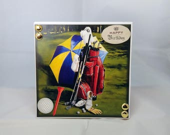 3D Box Birthday Card - Golf - luxury personalised unique quality special bespoke UK - Dad/Son/Uncle/Brother/Nephew/Granddad