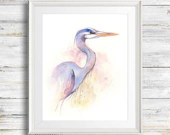 Great Blue Heron Watercolor Painting. Fine Art Print. Decor. Wildlife.