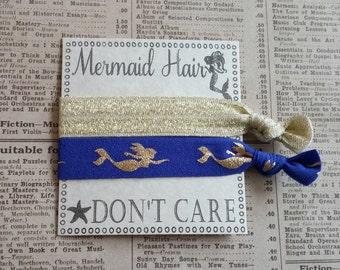 Gold Mermaid Hair Ties, mermaid party favors, summer hair ties, beach hair, bridal shower, beach favors, wedding, bachelorette favors