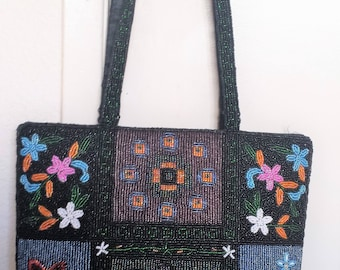 Multi-Colored Beaded Mystical Floral Handbag