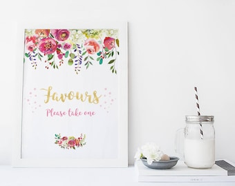 Floral favours sign, 1st birthday party favours sign, Floral Party favours sign, Printable favours sign, first birthday favours sign, gold