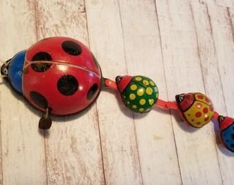 Ladybug Wind Up Toy , Tin Ladybug Toy , Vintage Ladybug Toy , Vintage Tin Ladybug Toy , Vintage Tin Toy , Tin Wind Up Toy