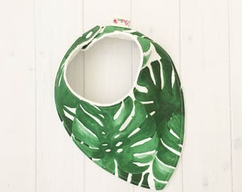 Baby Dribble Bib, Monstera Leaf bib, Bandana Bib, Baby Bib, Teething Baby Bib, Palm Leaf, Monstera, Green bib