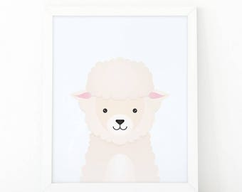 Sheep Print, kids wall Art Print, Instant download, Nursery print, Nursery Decor,woodland animal, Animal Nursery Printable, illustration