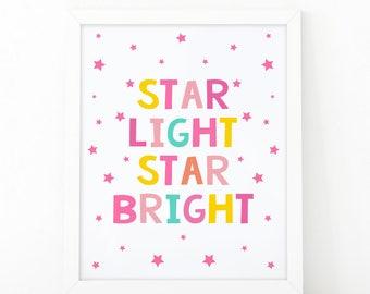 Star light, Star bright, Nursery Print, Printable Art, stars print, Kids room decor, Nursery Decor, Instant Download, scandinavian print