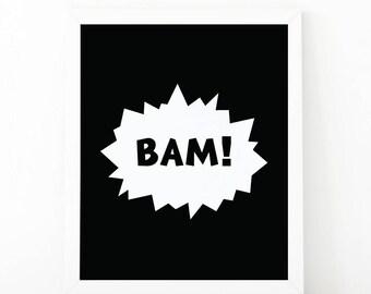 BAM print, Instant download, baby boy nursery, Batman print, boys room decor, printable art, batman poster, scandinavian art, bam printable