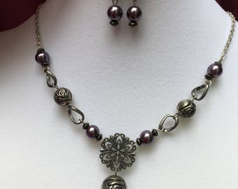 Antiqued Purple Necklace and Earring Set