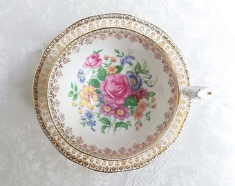 Queen Anne Floral and Gold Teacup and Saucer, Vintage English Bone China Large Roses and Gold Tea Cup and Saucer