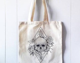 Tote Cotton Bag, Canvas Shopper, Shopping bag, Skull roses