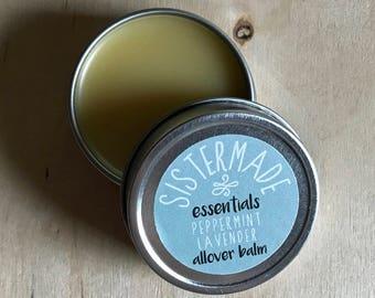 Peppermint Lavender 1 oz. SisterMade Balm - Hand Balm, Lip Balm, Foot Balm, All Natural Salve, Moisturizer