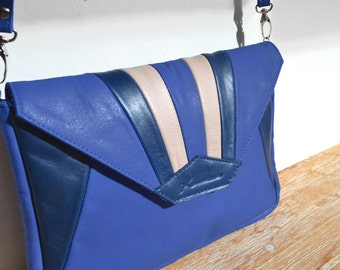 "Leather clutch with shoulder strap blue electric, Midnight blue and pink ""MADU"""