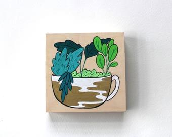 Wood Block Painting - Mug and Succulents